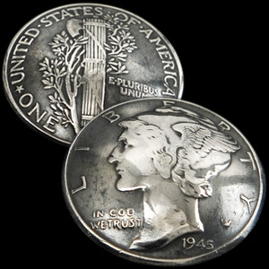 Old Mercury Dime 1916 - 1945
