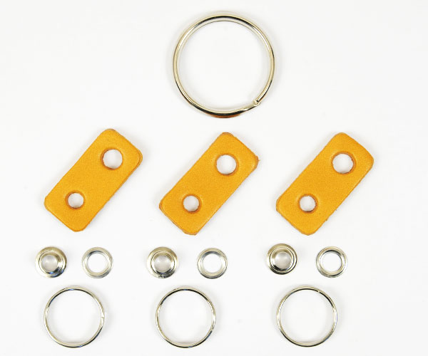 Leather Key Ring Kit - LC Premium Dyed Leather Struck Through