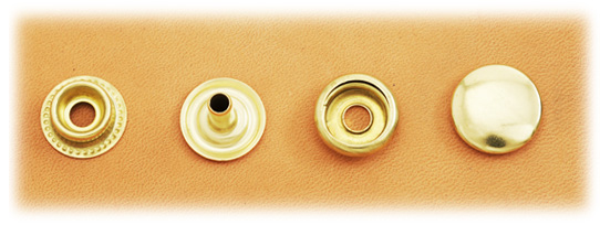 (J8) Brass Snap Fastener (LONG POST) - Solid Brass High Luster - Large