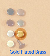 Long Double Cap Rivets 9mm Gold Plated Brass