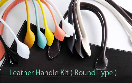 Leather Handle Kit ( Round Type ) LC Premium Dyed Leather 2 pcs 1 set