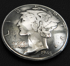 Old Mercury Dime 1916 - 1945 Matte Finish (Obverse) <Screw Back>