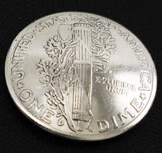 Old Mercury Dime 1916 - 1945 (Reverse) <Screw Back>
