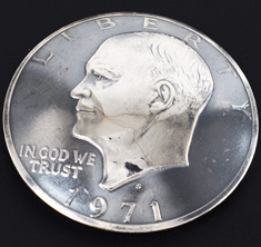 Old Eisenhower Dollar Matte Finish (Obverse) <Screw Back>