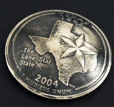 Texas State Quarter Matte Finish <Screw Back>