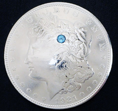 Old Morgan Dollar 1921 Blue Topaz (1 stone)