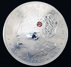 Old Morgan Dollar 1921 Pink Tourmaline (1 stone)