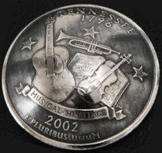 Tennessee State Quarter Matte Finish <Screw Back>