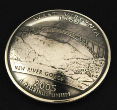 West Virginia State Quarter Matte Finish <Screw Back>