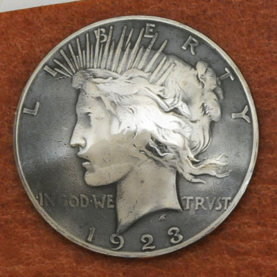 Silver Peace Dollar In Or After 1922 Matte Finish (Obverse)  VG <Screw Back>