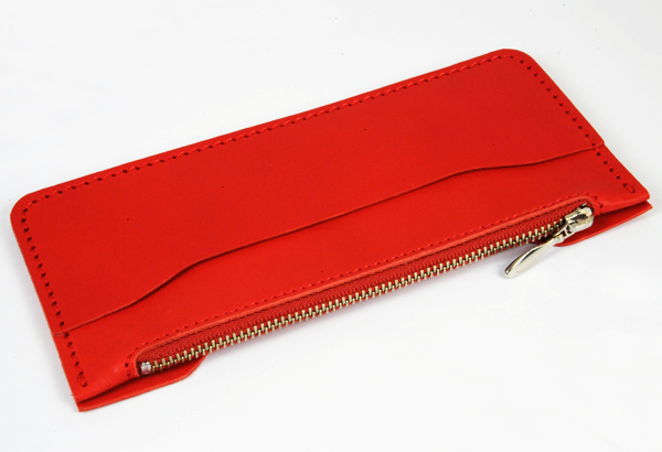 LC M Long Wallet Semi Assembled Inner Parts with Zipper  -  LC Premium Dyed Leather Struck Through