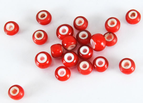 Red White Heart Trade Beads
